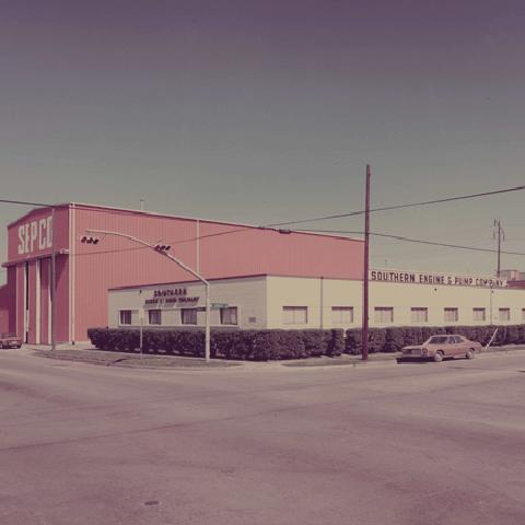 Archival photo of early SEPCO building in Houston, TX.